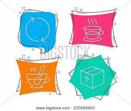 Set Of Refresh, Coffee Cup And Tea Cup Icons. Package Sign. Rotation, Tea Mug, Coffee With Spoon. De