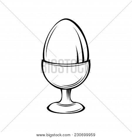 Egg In Egg Holder, Egg-cup, Egg Stand. Vector Illustration Isolated On White Background.
