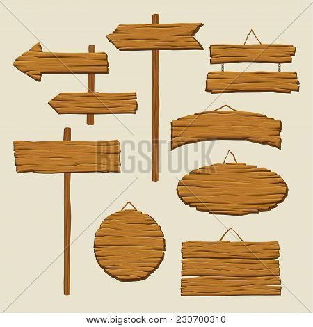 Set Of Various Wooden Signboards And Direction Arrows. Blank Advertising Billboard Made Out Of Wood.