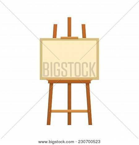 Modern Wooden Easel With A Canvas For Painting Paintings, Accessories. Empty Canvas For Painting, Dr