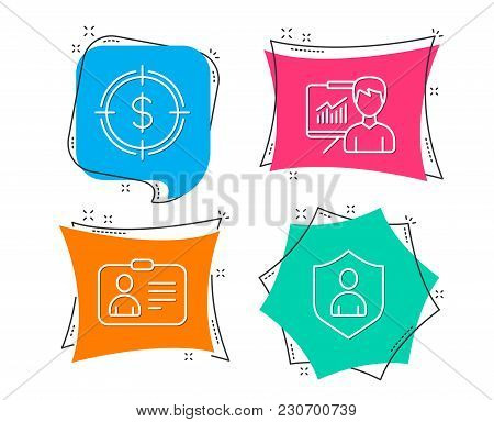 Set Of Dollar Target, Presentation And Id Card Icons. Security Sign. Aim With Usd, Education Board,
