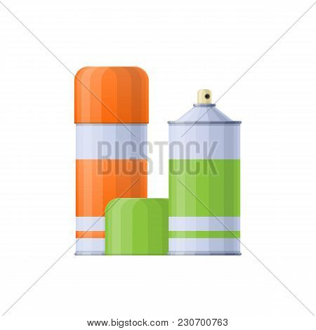 Collection Colored Metal Spray Cans With Multi-colored Paint For Drawing Images. Tools, Accessories