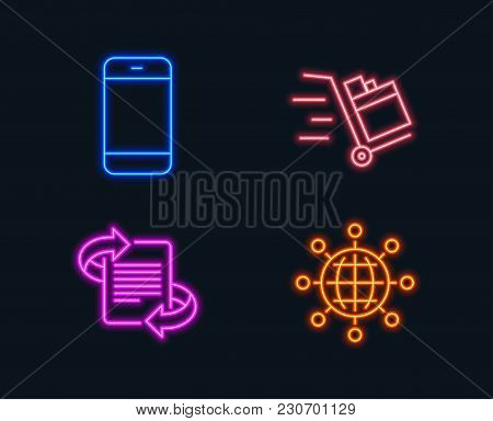Neon Lights. Set Of Push Cart, Smartphone And Marketing Icons. International Globe Sign. Express Del