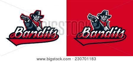 A Set Of Logos Of A Cowboy Shooting From A Revolver. Wild West, Bandits, Sheriff, Crime. Mascot, Sti