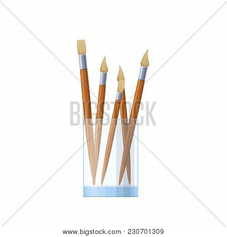 Set Of Art Brushes, For Drawing, In A Glass. Modern Tools And Accessories For Painting Paintings. Pa
