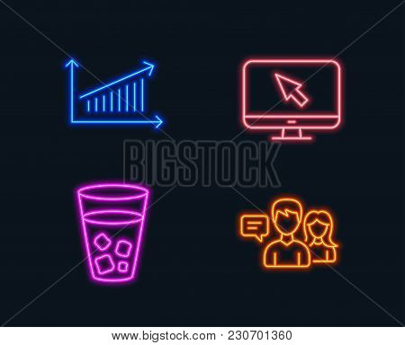 Neon Lights. Set Of Internet, Ice Tea And Chart Icons. People Talking Sign. Monitor With Cursor, Sod