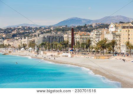 Nice Cote d'Azur Riviera France with mediterranean beach sea