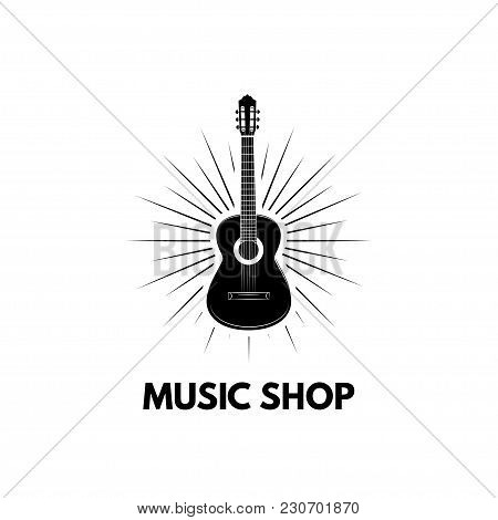 Guitar Icon Vector, Acoustic Musical Instrument. Music Shop Logo. Guitar In Beams. Vector Illustrati