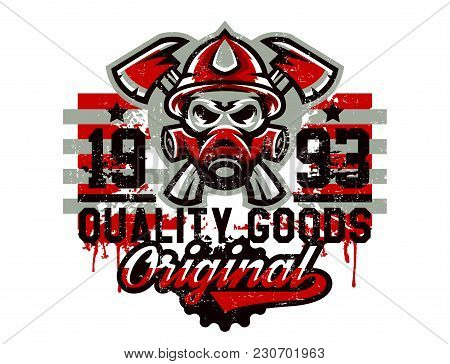 Vector Illustration On The Theme Of Rescuers, Fire Department, A Skull In A Fireman's Helmet, Axes.