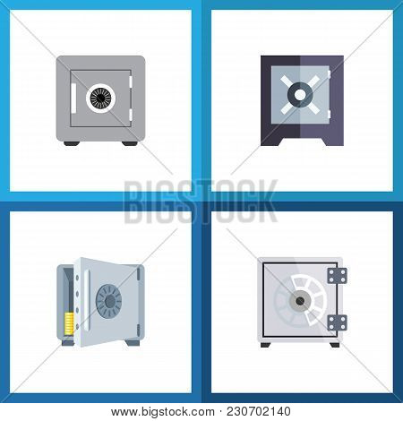 Icon Flat Strongbox Set Of Saving, Banking, Safe And Other Vector Objects. Also Includes Strongbox,