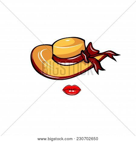 Woman Hat Icon. Wide-brimmed Hat With Bow And Lips. Vector Illustration Isolated On White Background