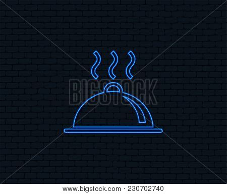 Neon Light. Food Platter Serving Sign Icon. Table Setting In Restaurant Symbol. Hot Warm Meal. Glowi