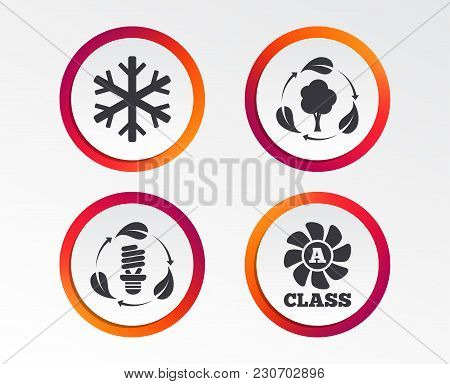 Fresh Air Icon. Forest Tree With Leaves Sign. Fluorescent Energy Lamp Bulb Symbol. A-class Ventilati