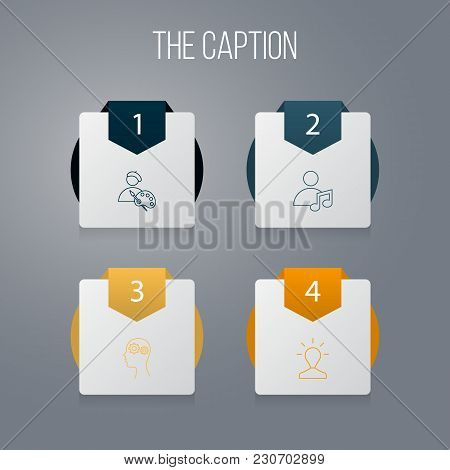 Icon Line Creative Set Of Invention, Intelligence, Artist And Other Vector Objects. Also Includes Id