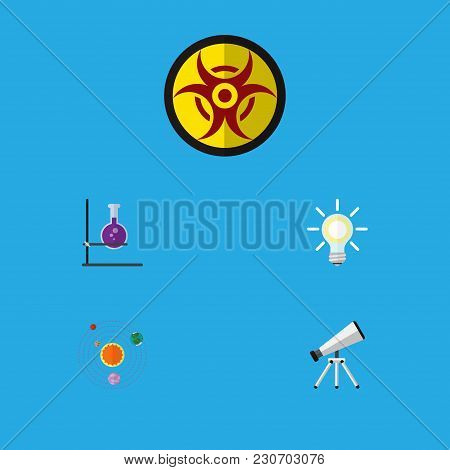Icon Flat Knowledge Set Of Telescope, Solar System, Biohazard And Other Vector Objects. Also Include