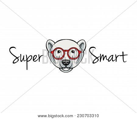 Polar Bear Face In Geek Glasses. Super Smart. Vector Illustration Isolated On White Background