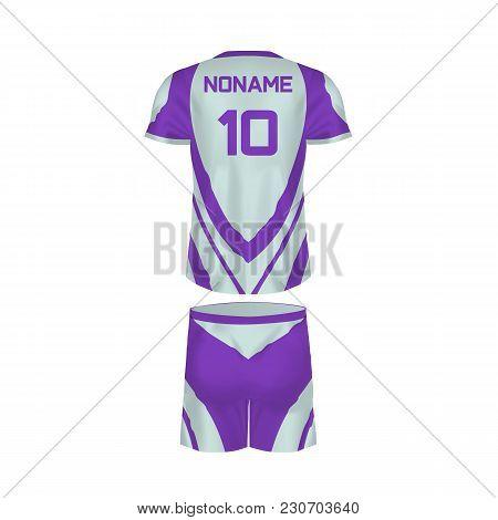 Realistic Mockup Of Men T-shirt - Tunic And Fashion Shorts. Men S Sports Short Sleeve T-shirt, Casua