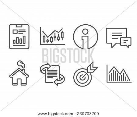Set Of Financial Diagram, Report Document And Target Icons. Marketing, Comment And Investment Graph