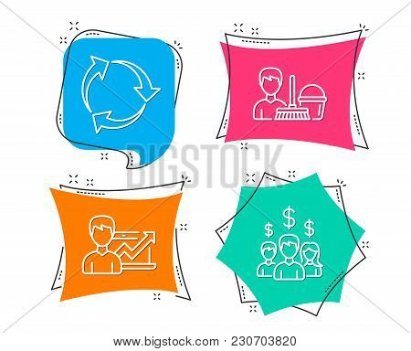 Set Of Recycle, Success Business And Cleaning Service Icons. Salary Employees Sign. Recycling Waste,