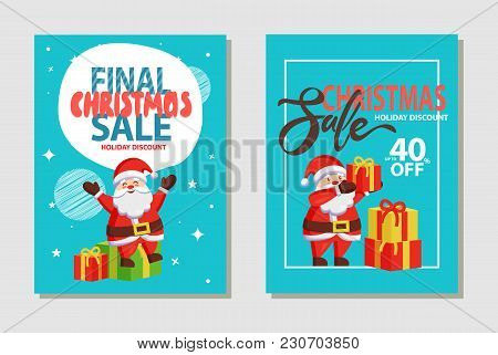Christmas Sale, Holiday Discount Headlines And Santa Claus In Traditional Costume With Presents And