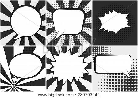 Set Of Black And White Retro Comic Speech Bubbles On Monochrome Dotted And Striped Backgrounds In Po
