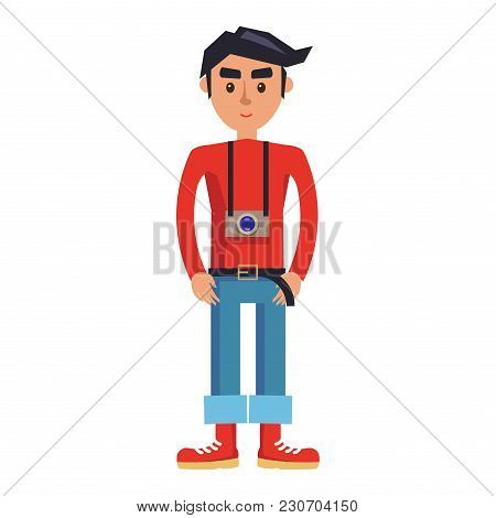 Young Man With Camera Cartoon Character. Brunette Male In Red Jumper, Rolled Up Jeans And Boots With