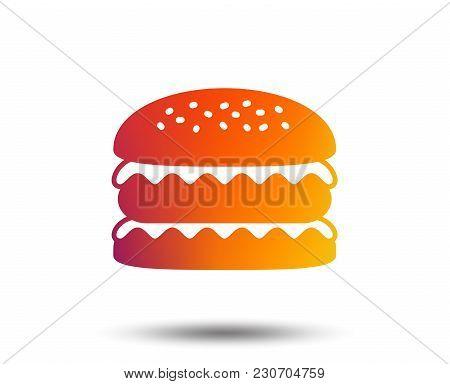 Hamburger Icon. Burger Food Symbol. Cheeseburger Sandwich Sign. Blurred Gradient Design Element. Viv