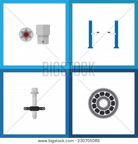 Icon Flat Workshop Set Of Screwdriver Star, Car Lift, Silent Block Puller And Other  Objects. Also I
