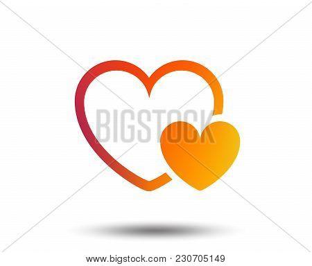 Hearts Sign Icon. Love Symbol. Blurred Gradient Design Element. Vivid Graphic Flat Icon. Vector