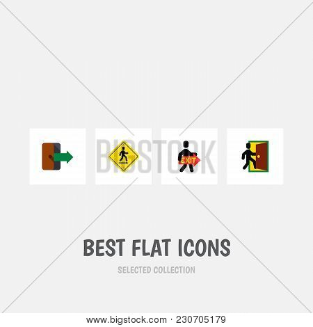 Icon Flat Door Set Of Open Door, Directional, Exit And Other  Objects. Also Includes Exit, Direction