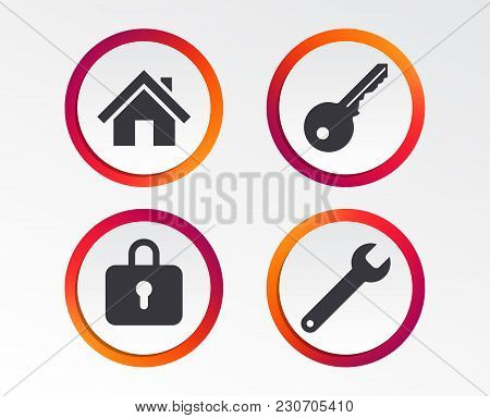 Home Key Icon. Wrench Service Tool Symbol. Locker Sign. Main Page Web Navigation. Infographic Design