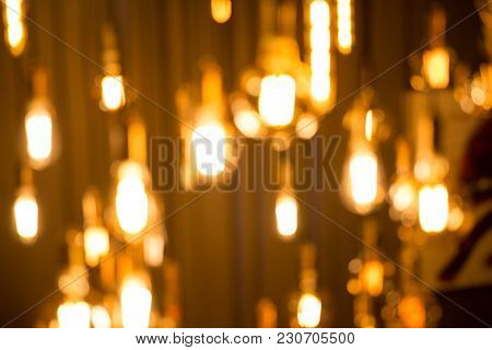 Light Bulbs Were Hung With Beautiful With Light From Bokeh A Light Bulb, Many Beautifully.