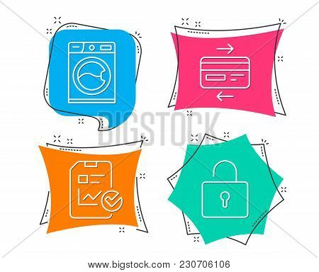 Set Of Washing Machine, Credit Card And Report Checklist Icons. Lock Sign. Laundry Service, Bank Pay