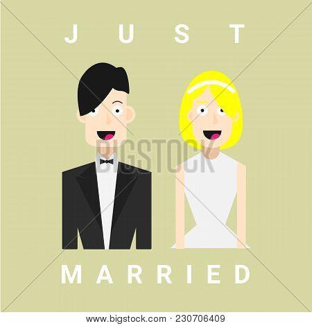 Couple, Love, Wedding, Married, Vector, Flat Couple