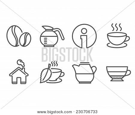 Set Of Coffee Beans, Cappuccino And Milk Jug Icons. Mint Tea, Coffeepot And Americano Signs. Whole B
