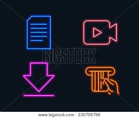 Neon Lights. Set Of Video Camera, Downloading And Document Icons. Credit Card Sign. Movie Or Cinema,