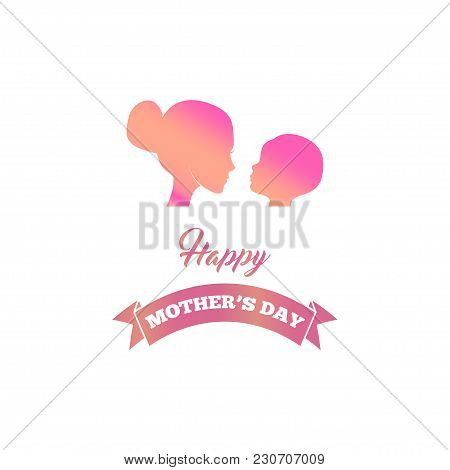 Beautiful Mother Silhouette With Her Baby, Child, Kid. Mother S Day Greeting Card With Ribbon. Vecto