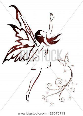 Fairy flying vector