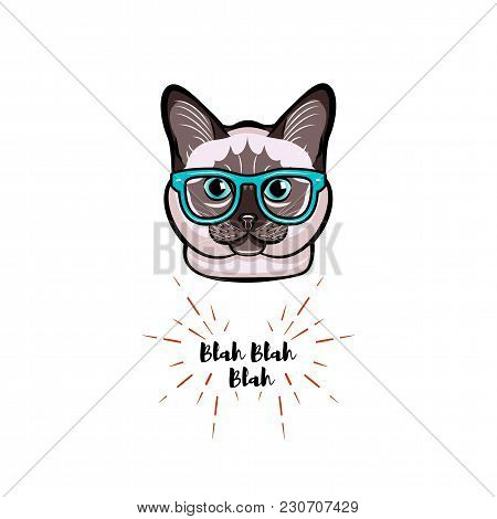 Siamese Cat In Smart Glasses. Cat Geek. Vector Illustration Isolated On White Background.