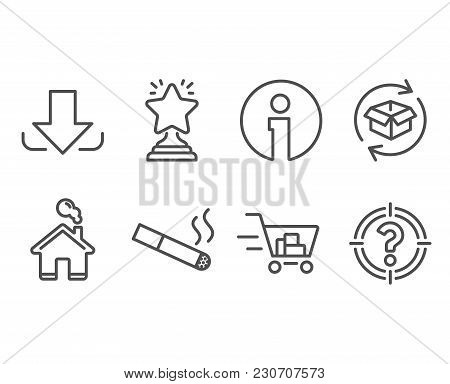 Set Of Return Parcel, Smoking And Shopping Cart Icons. Download, Winner And Headhunter Signs. Exchan