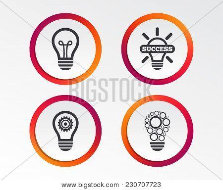 Light Lamp Icons. Circles Lamp Bulb Symbols. Energy Saving With Cogwheel Gear. Idea And Success Sign