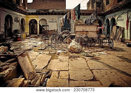 Old Courtyard Of Holy Indian Town Vrindavan. Uttar Pradesh, India.
