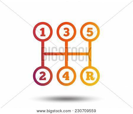 Manual Transmission Sign Icon. Automobile Mechanic Control Symbol. Blurred Gradient Design Element.