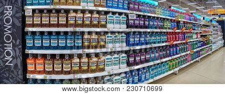 Bangkok, Thailand - March 03: Various Brands And Flavors Of Mouth Washes Fully Stocked On The Shelve