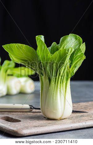 Fresh Raw Baby Bok Choy Or Pak Choi Chinese Cabbage