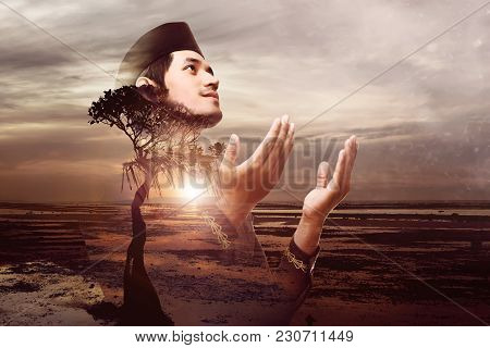 Handsome Asian Muslim Man Pray To God