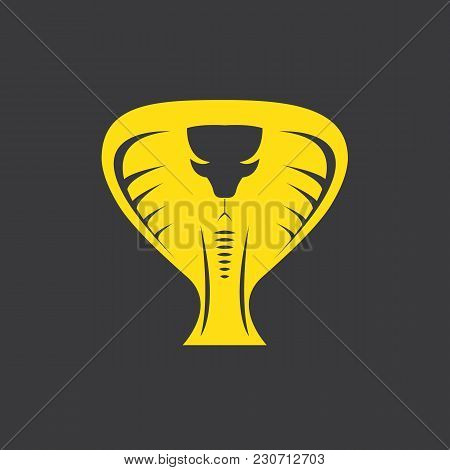 Vector Dangerous Cobra Snake Head With Hood Logo Design Template. Danger King Cobra Icon. Viper Oran