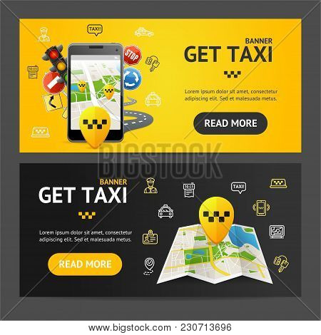 Get Taxi Car Service Banner Realistic Detailed 3d Horizontal Set. Vector Illustration Of Public Tran