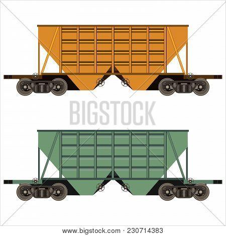 Railway Freight Cars. Flat Design. Vector Illustration.