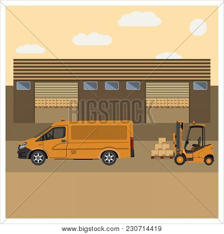A Forklift Loads The Van With Goods From The Warehouse. Flat Design. Vector Illustration.